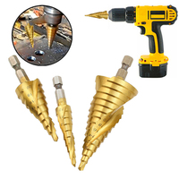 3pcs HSS Titanium Step Cone Drill Bit Tool Hole Cutter Kits 4 12mm 4 20mm 4