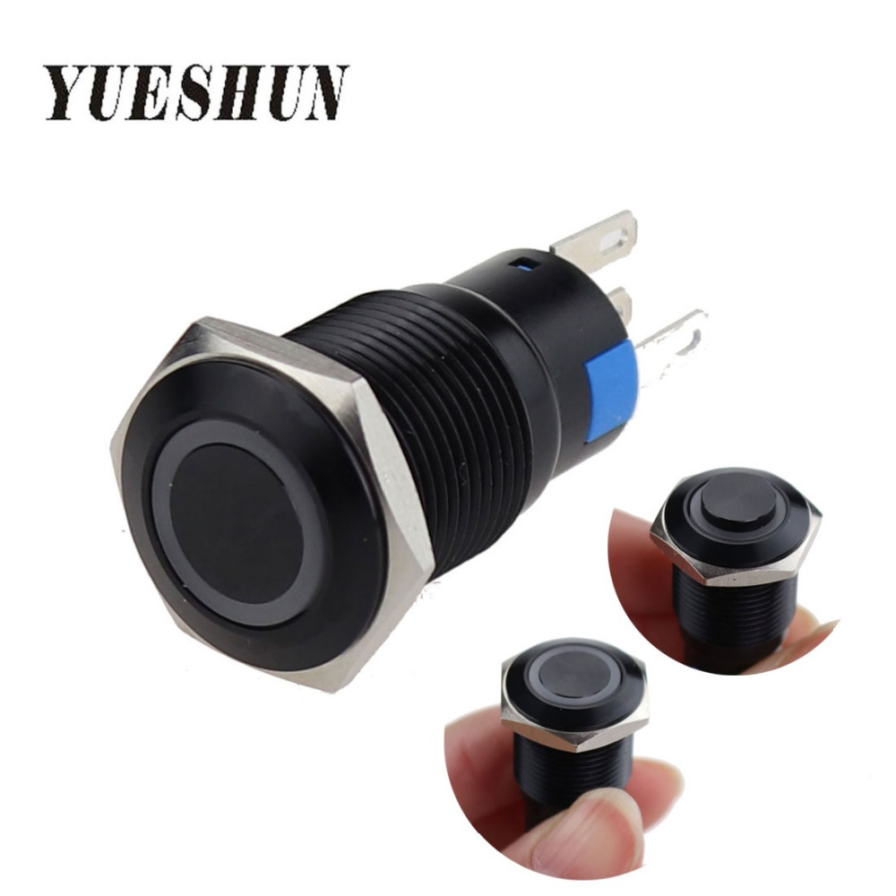 16mm Black Oxidized Aluminum Momentary Pushbutton Switch With LED Self-locking 1NO 1NC Waterproof Ring Type Light Power Switches