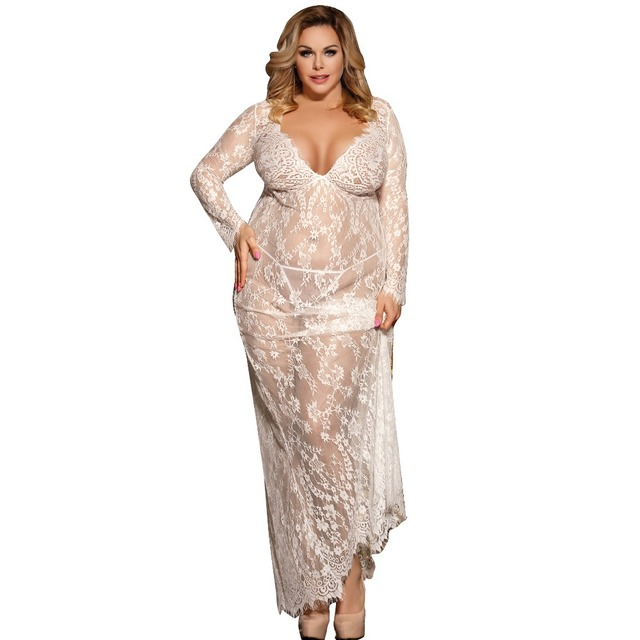 Sexy Dress Erotic Long Sleeve Sexy Costumes Babydoll Woman Long Transparent Sexy Lace Lingerie Plus Size Erotic Clothing R80497  2