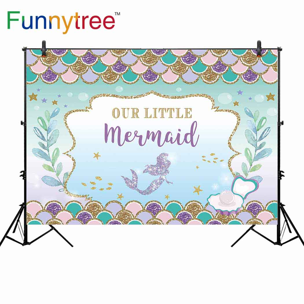 Funnytree background for photo studio Mermaid theme birthday party cartoon colorful scale for children backdrop photocall prop in Background from Consumer Electronics