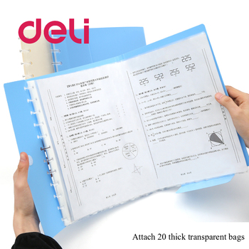 Deli 1PCS A3 stationery simple multi-layer transparent information bag papers buckle A4 folder candy color file storage
