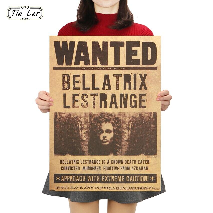 TIE LER Wanted Bellatrix Lestrange Vintage Retro Kraft Poster Decorative Paintings 42X30cm