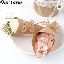 OurWarm 50pcs Wedding Hanging Decor Vintage Rustic Confetti Cones DIY Kraft Paper For Flower Food Chair Decoration