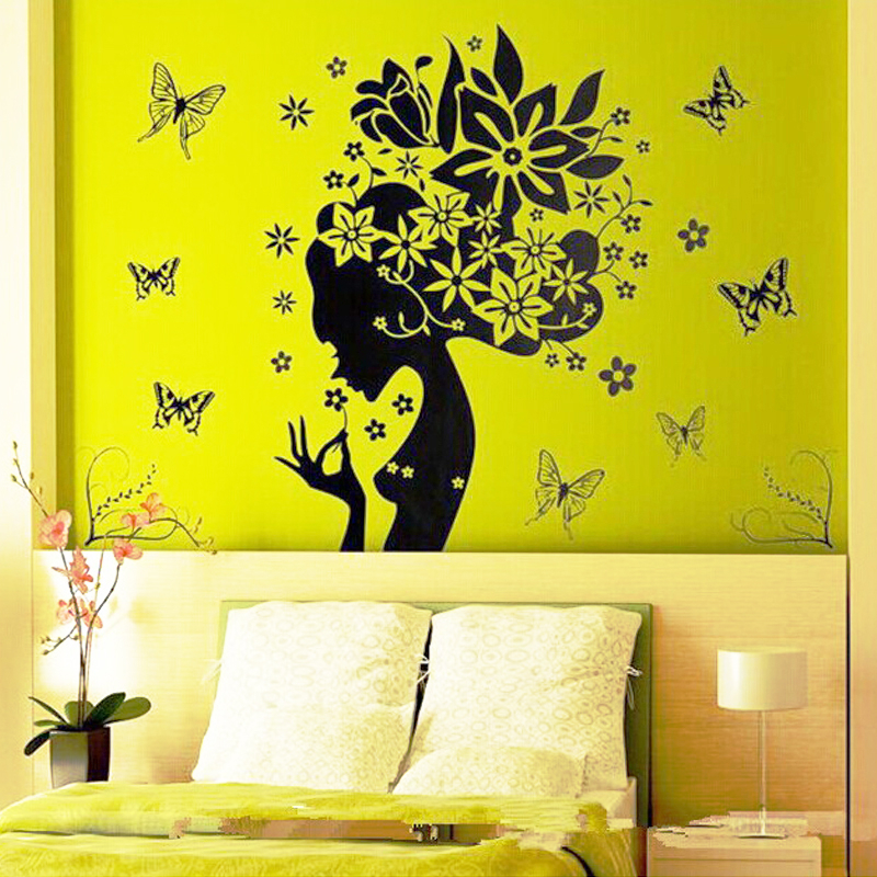 Beautiful flowers fairies butterfly pvc wall stickers for - Beautiful wall stickers for living room ...