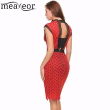 Meaneor Women Vintage Styles O-Neck Sleeveless Zigzag Hollow Out Lace Backless Tunic Sheath Cocktail Party Dress With Lining zigzag printed dress for women