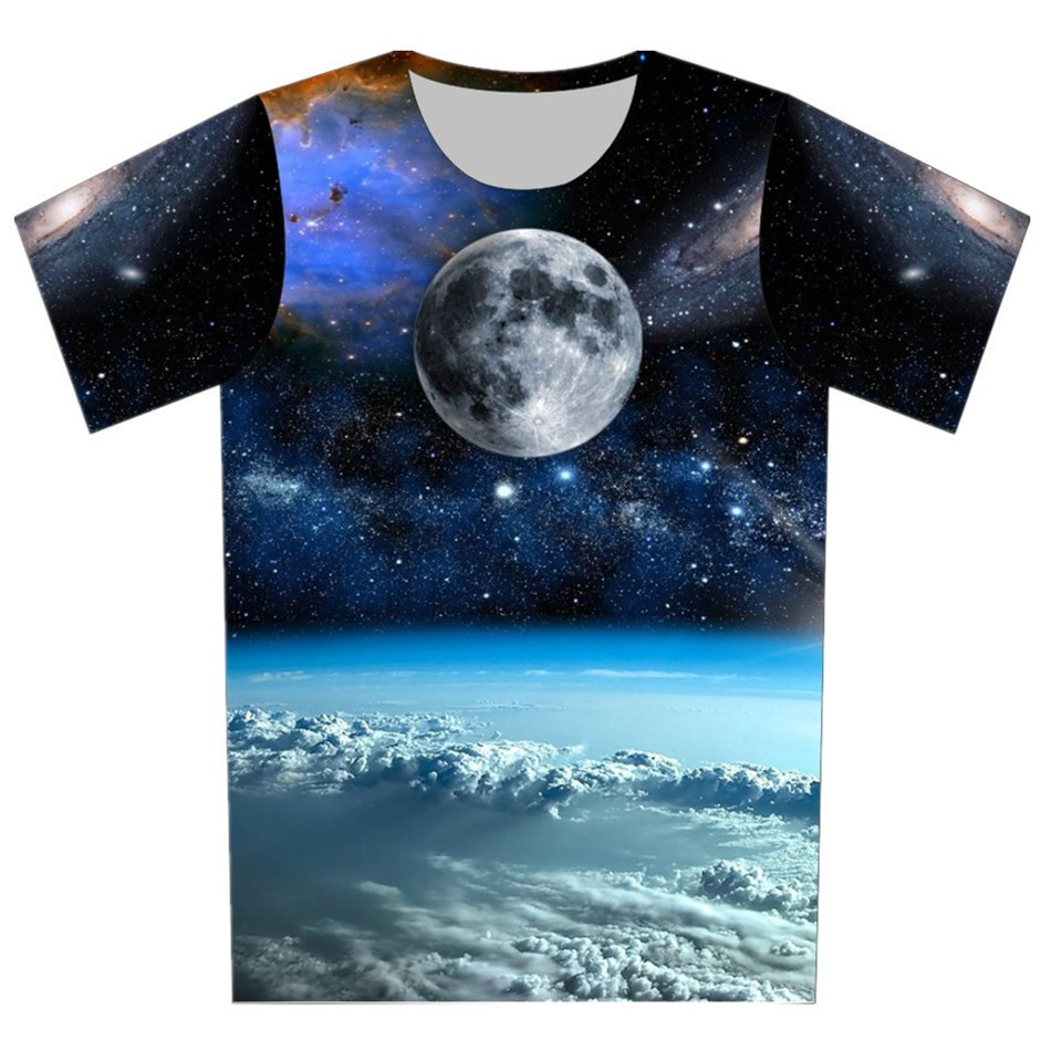 Joyonly T-Shirts Kids Earth-Cloud-Design Girls Tops Funny Boys Children Summer Moon Galaxy-Space