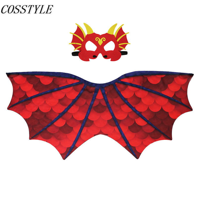 Halloween Costumes for Kids Dinosaur Wings Cosplay Pterosauria Wings for Girls Boys Face Masks Stage Performance Costumes Props