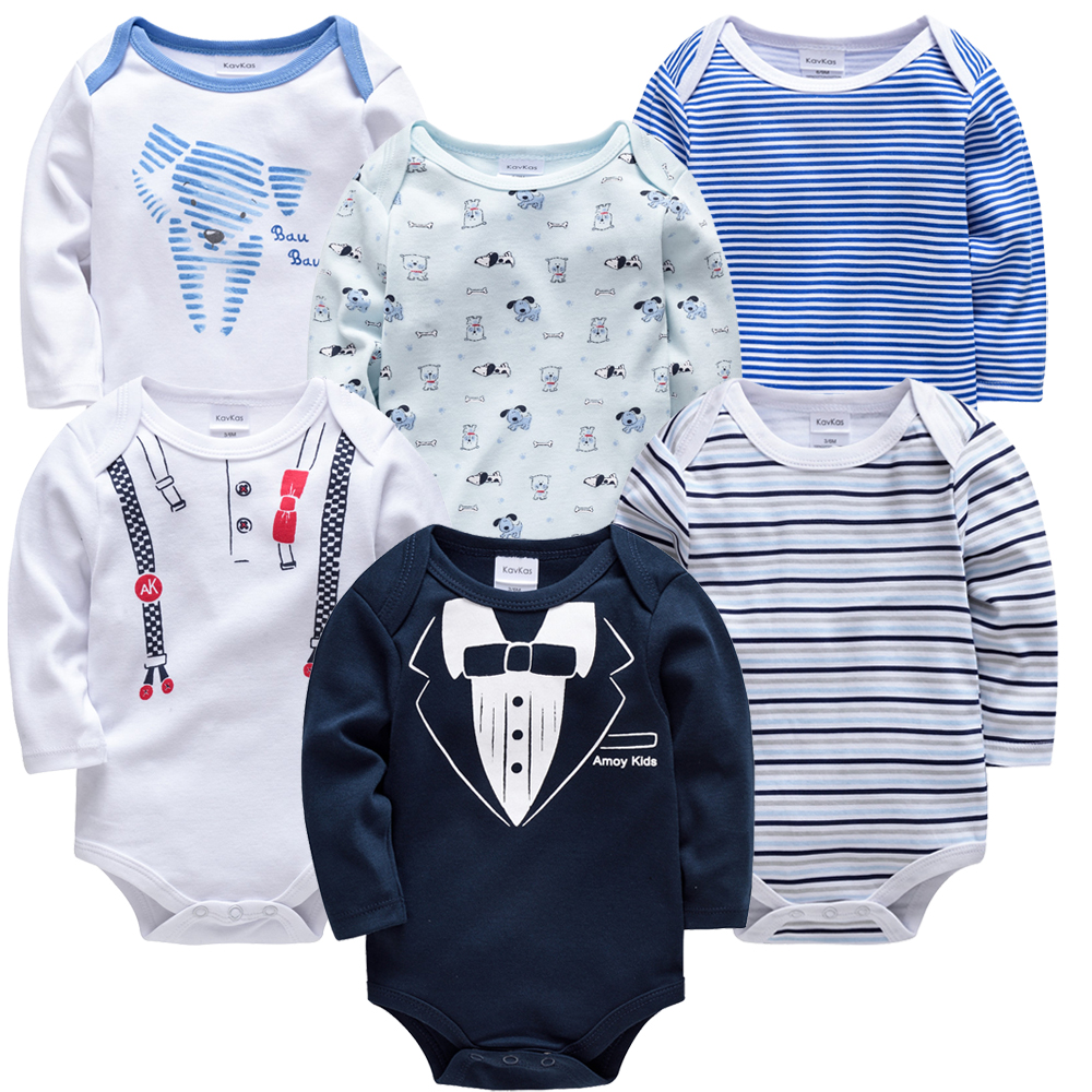 2019 New Baby Boys Bodysuit 6 Pcs/lot Cotton Long Sleeve Cartoon Boy Girl Clothes 3m 6m 9m 12m Newborn Infant Body Bebe Clothing