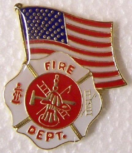 Hat Lapel Tie Tac Push Pin Fire Department Emblem and Flag low price custom zinc alloy b ...
