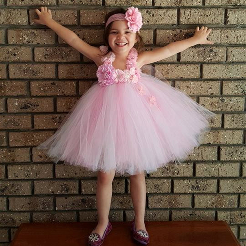 Gorgeous Flower Girls Dress Blue Pink Flower Baby Girls Tutu Dresses