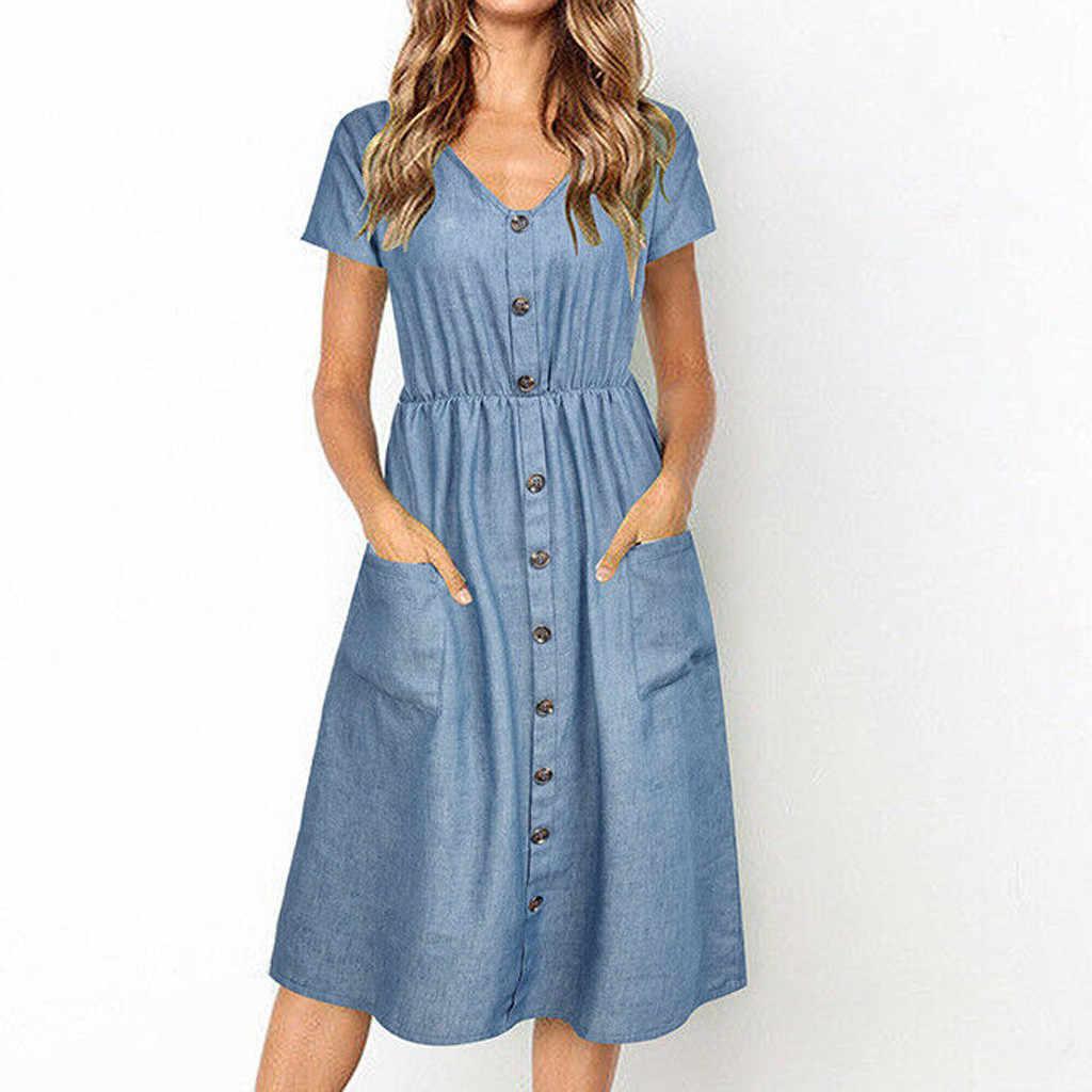 2019 женское джинсовое платье с карманом, летнее платье с v-образным вырезом, однотонное платье-клеш до середины икры, одежда для отпуска, пляжные платья, Vestidos Muje