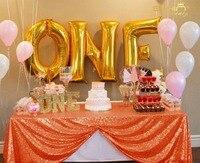 ShinyBeauty 90x156 Inch Orange Sequin Rectangular Tablecloth for Party Cake Dessert Table (Orange)