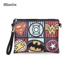 DIINOVIVO Rock Style Rivet Clutch Bag Exquisite Punk Handbag Women Envelope Bag Luxury Leather Superhero Shoulder Bags WHDV0295