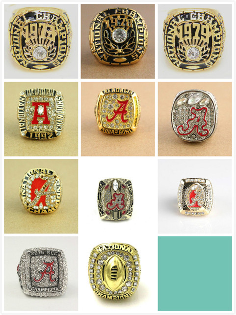 Wholesale Rings Sets for 11 Sets1973/1978/1979/ 1992/2008/2009/2011/2012/2015 Alabama Crimson Tide National Championship Rings