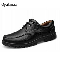 Hand Made Casual Men Genuine Leather Shoes Spring Autumn Flat Platform Men Shoes Lace Up Leisure