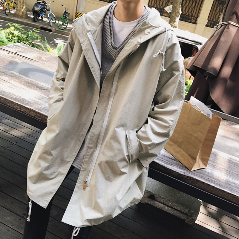 Xm092 Korean version of the long windbreaker men's spring and autumn casual tide brand hooded jacket Japanese trend loose