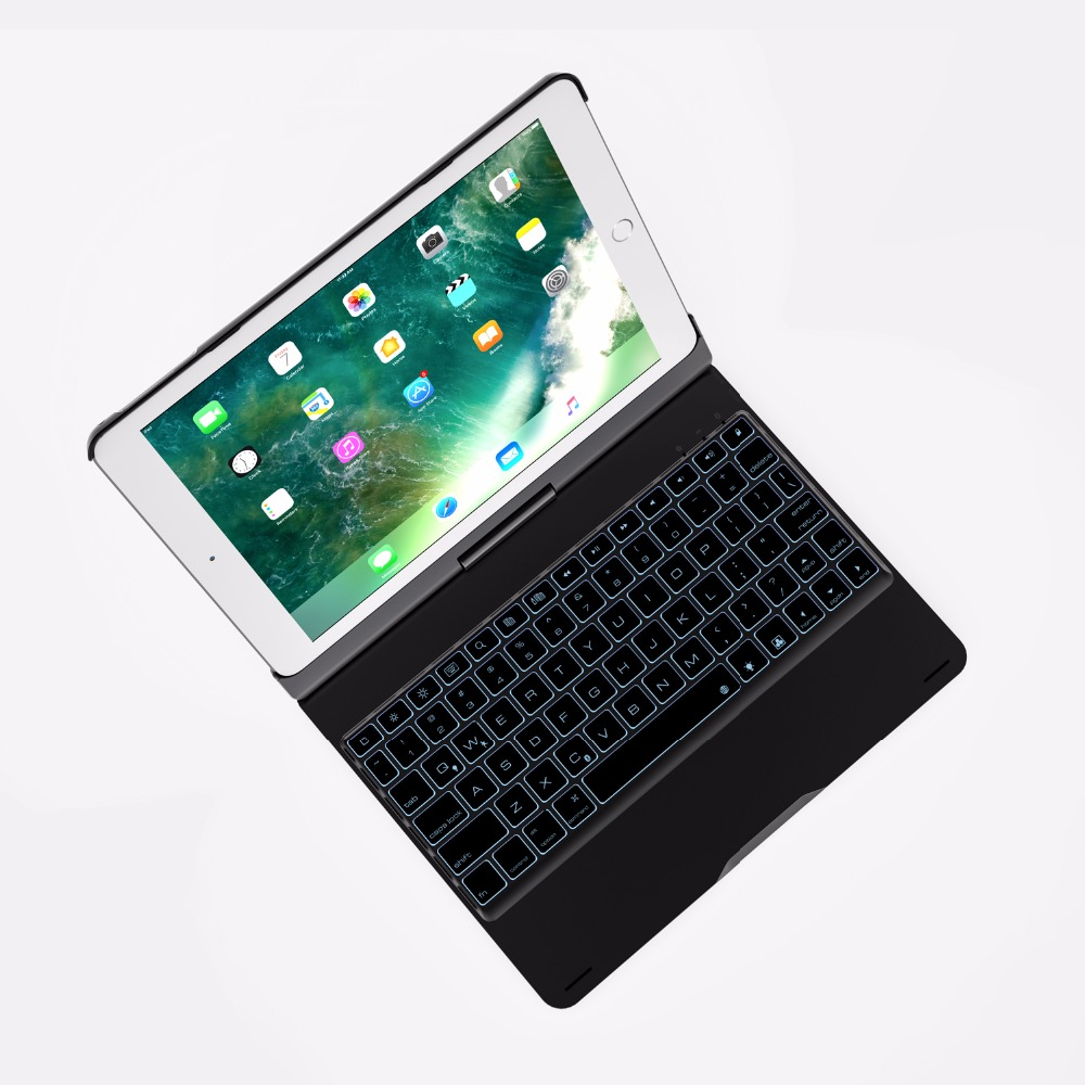 360 Degree Rotable Aluminum 7 Color BackLight Bluetooth Keyboard Case Cover for Apple New iPad 9.7 2017 2018 iPad Air 1 2  5 6 -8