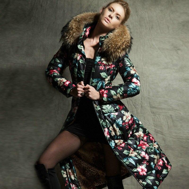 2016 veste d'hiver Femmes doudounes femmes bas manteau grand col de fourrure longue mince X-long épais Canard manteaux Manteaux parka