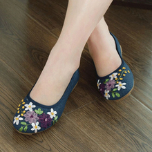 MYLEY Women Vintage Embroidered Flower Shoes Slip On Cotton Fabric Linen Flats Single Shoes Shallow Peas Sapato Feminino
