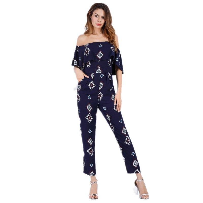 plus size rompers womens jumpsuit off shoulder casual pants office lady summer one piece jumpsuits combinaison pantalon 5399G