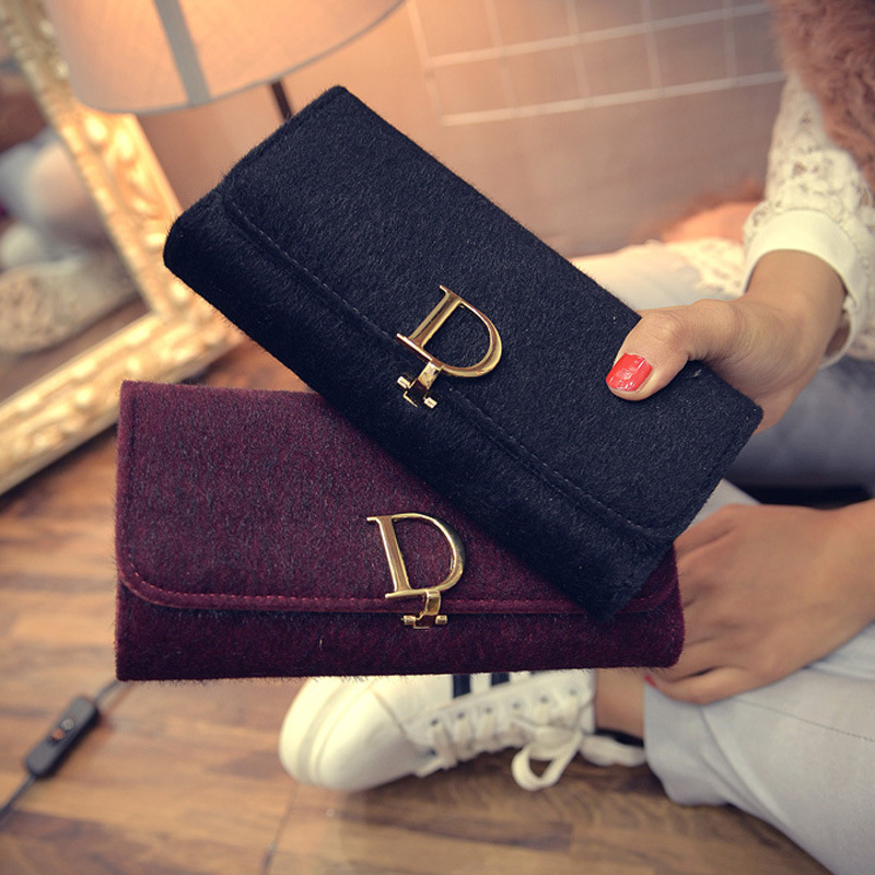 2017 New Long Folding Wallet D Word Velour Handbag Lady Purse Buckle Folding PU Leather Classic Style Women Clutch Wallet weijueshi wt832 fashionable pu leather long style folding men s wallet black
