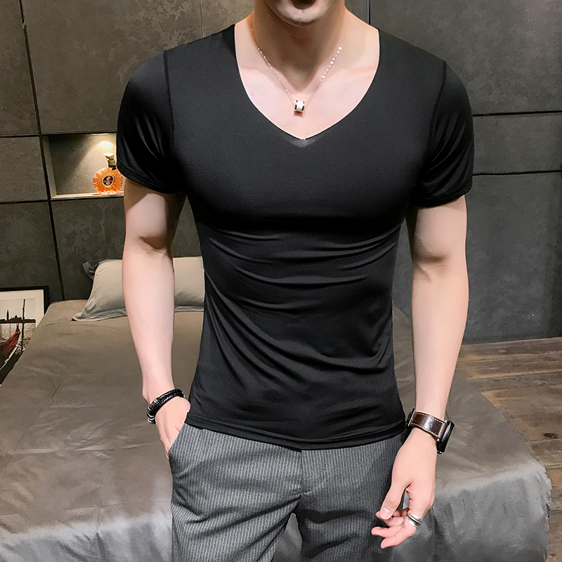 HCXY brand 2018 Summer Breathable Sexy Male   t     shirt   Men Solid color Mens V-neck   T  -  shirt   Sexy Ice Silk No Trace Slip Thin
