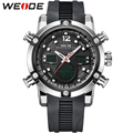 WEIDE PU Strap Watch Men Sport Water Resistant 3ATM Men's Quartz LCD Dual Movements Analog Digital Multi-functional New Products