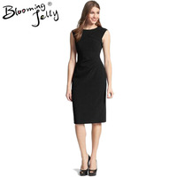 Blooming Jelly Crepe Dress Ruched Bodycon Elegant Work Office Dress Petite Casual Simple Little Black Dress