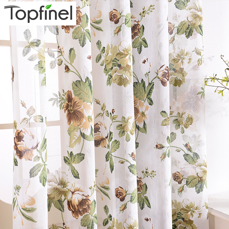 Topfinel Flax Linen Floral Window Curtains Tulle Luxury Sheer Curtains For Living Room Bedroom Yarn Curtains Blue Green Flowers