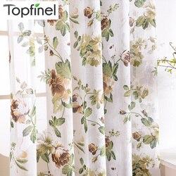 Topfinel len pościel kwiatowy zasłony okna Tulle luksusowe Sheer zasłony do salonu sypialnia przędzy zasłony niebieskie zielone kwiaty