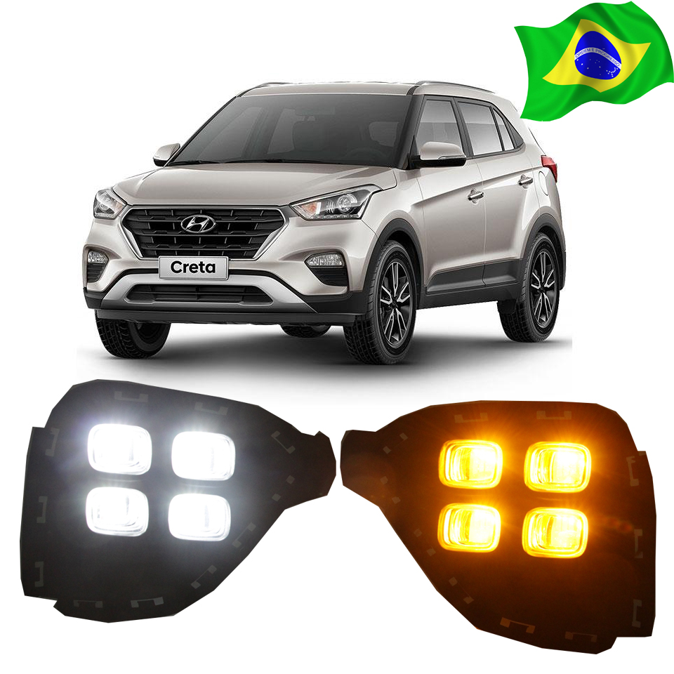 Передние противотуманные лампы дневного света с Truning сигнальная лампа для Хендай Крета IX25 2017 2018 аксессуаров только для Бразилии