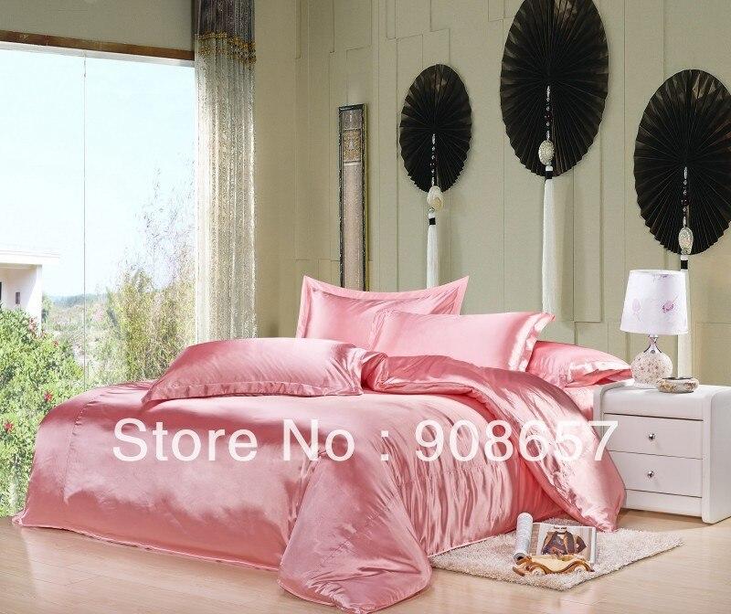 ᗛLight Pink Girls lujoso liso brillante Satén de seda imitado cama ...