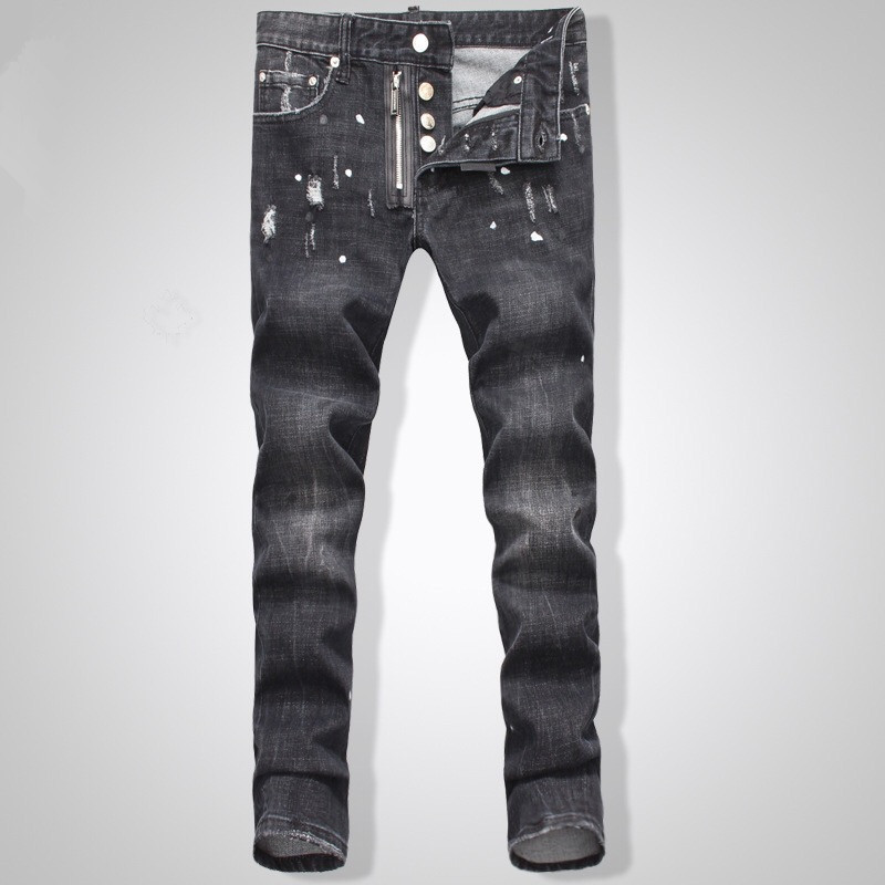 ФОТО Famous Brand D Jeans Fashion Men Pencil Pants High Waist Jeans Sexy Slim Skinny Pants Male Trousers Fit Jeans Frayed New Jeans