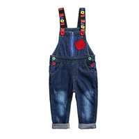 Children's Denim Overalls Colorful Buttons Love Jumpsuits Girls Boys Cotton Autumn Pants Kids Blue Jeans Trousers Girl Overalls