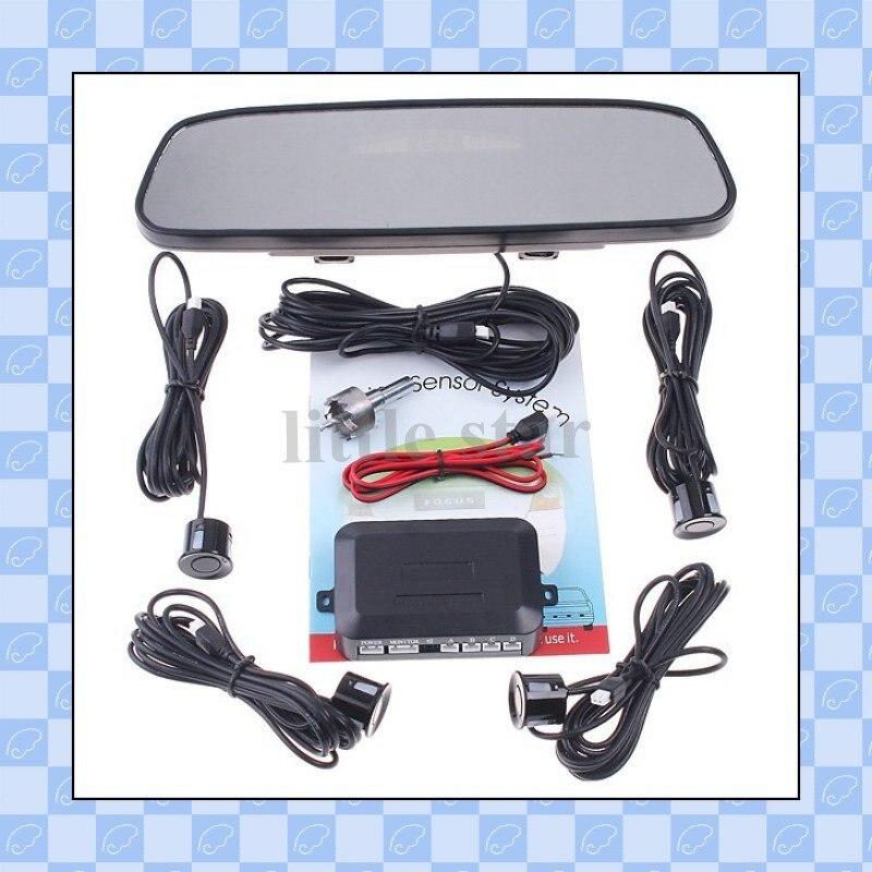 4 датчики парковки авто резервного копирования обратный радар зеркало заднего вида, датчик парковки и зеркало заднего вида, датчик парковки система, бесплатная доставка