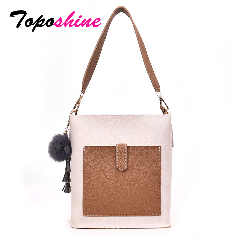 Toposhine Composite Handbag Shoulder-Bag Casual Tote Fashion Women Girl Color PU Soft