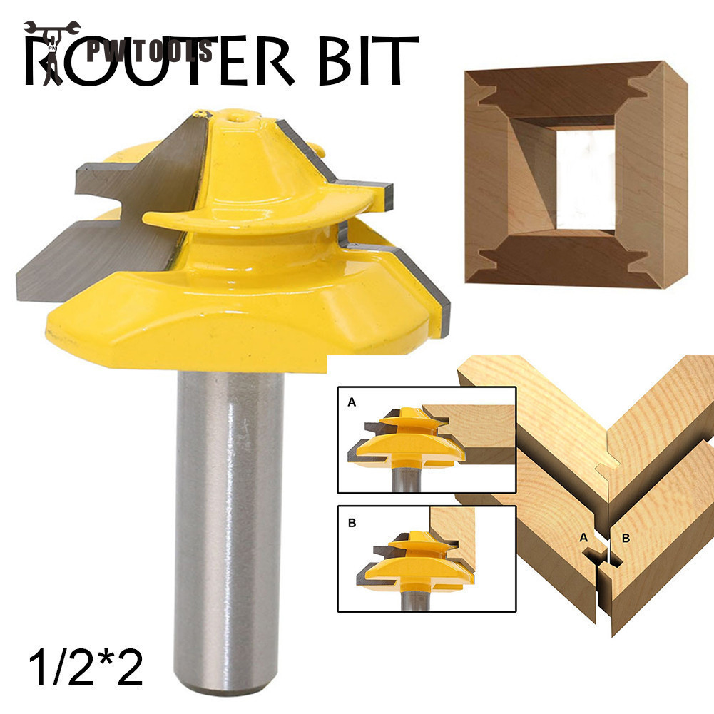 Small Lock Miter Wood Router Bit 45 Degree Tenon Cutter 1/2 * 2 Inch Woodworking Milling Cutter/milling Tools /carbide End Mill