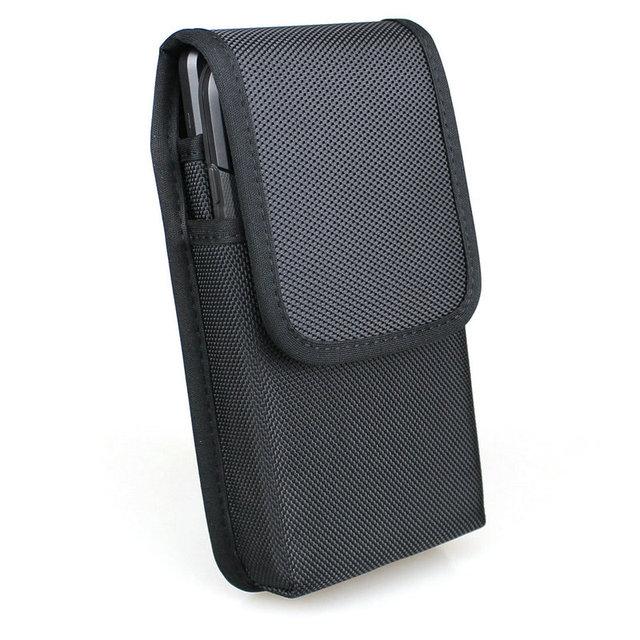אנכי כפול טלפון סלולרי חבילת מותניים עם חגורה לולאות עבור iPhone Xs מקס/סמסונג הערה 9 /Huawei ניילון נרתיק כפול טלפון פאוץ