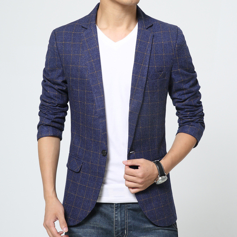 2017 new Slim fit small mens suits fashion blazer plaid jacket for men high quality brand man Business coat