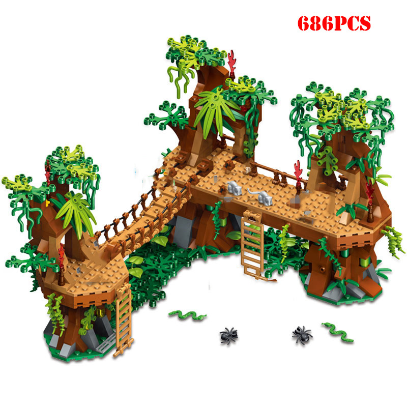 686+pcs MY Wrold Forest Castle Bridge Building Blocks Toys Compatible City My World Blocks Brick Toys For Children
