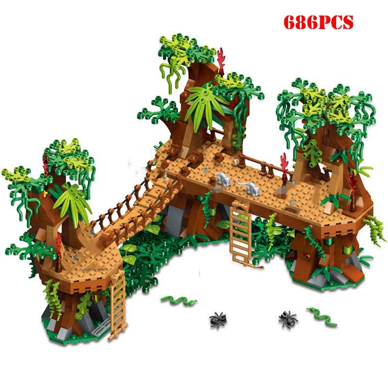 686+pcs MY Wrold Forest Castle Bridge Building Blocks Toys Compatible City My World Blocks Brick Toys For Children