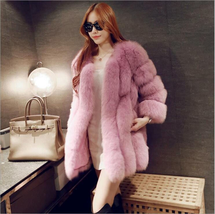 Kvinner Merke Fur Coat Winter Women Long Faux Fox Fur Frakker Furry Luxury Womens Fake Fur Jacket High Quality Faux Fur Coat Jacket