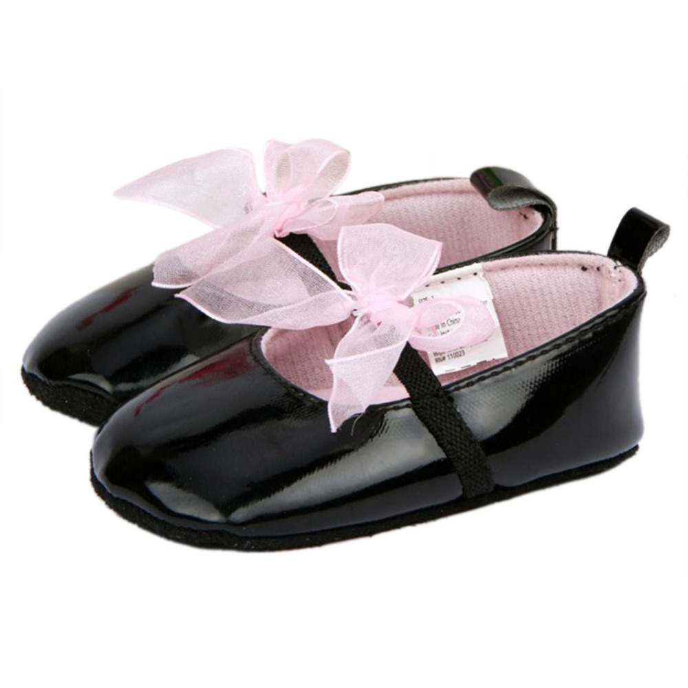 Black sandals baby girl - Lace Bow Knot Toddler Baby Girl Soft Sole Pre Walker Pu Leather Crib Black Lovely Shoes