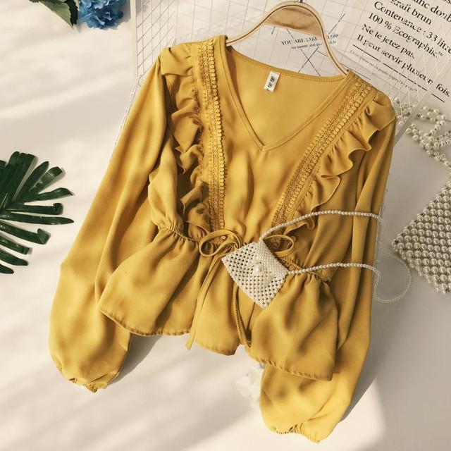 Neploe Drawstring Sash Ruffles Women Blouse V-Neck Lace Patchwork Vintage Blusa 2019 Spring Summer Solid Slim Fashion Tops Lady