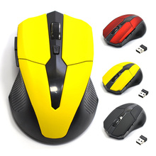 2.4G USB Red Optical Wireless Mouse 5 Buttons for Computer Laptop Gaming Mice 10M Working Distance Receiver Mouse QJY99