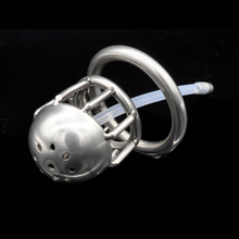 Stainless Steel Small Male Chastity Cock Cage with Short Catheter Cock Ring Sex Toy Fetish Bondage Chastity Device for Men G131