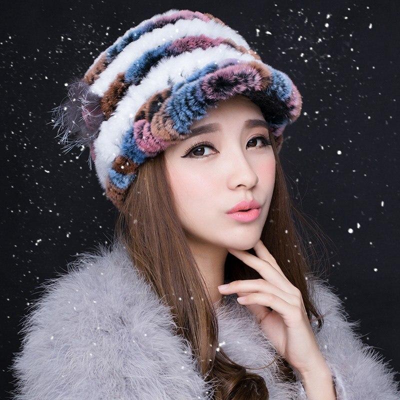 (TopFurMall) Multi-Color Women's Real Knitted Rex Rabbit Fur Visor Hats Female Winter Warm Caps Fashion Headgear VK3021