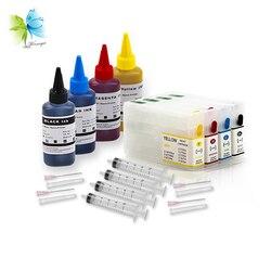 Winnerjet 5 zestawów T6771 pusty kartridż na tusz do ponownego napełniania + 100 ml tusz + strzykawki do projektora Epson Workforce Pro WP-4011 WP-4511 WP-4521 drukarki