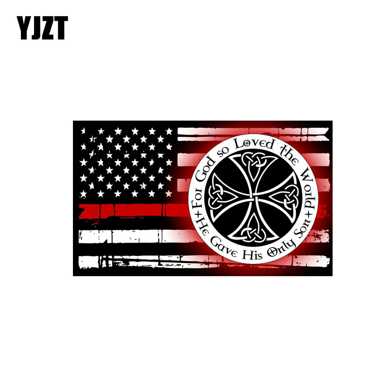 YJZT 13CM*8CM God So Loved The World Firefighter Flag Car Sticker PVC Funny Decal 12-0676