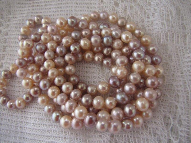 elegant489-10mm round freshwater multicolor pearl necklace 925silverelegant489-10mm round freshwater multicolor pearl necklace 925silver